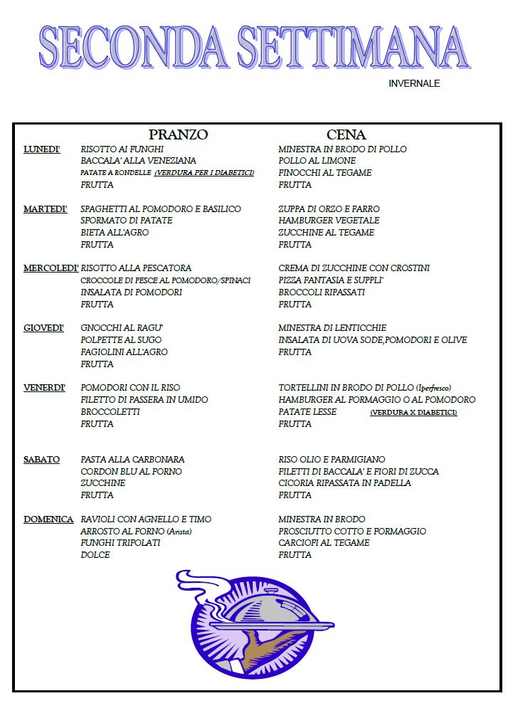 Top I menu settimanali - VILLA LA ROCCA LC56